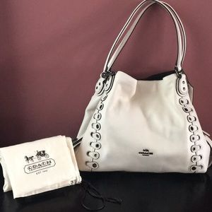 RARE! Coach Edie 21348 Chalk Leather Shoulder Bag